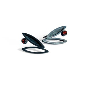 Oxidised silver stud earring with tube set garnet