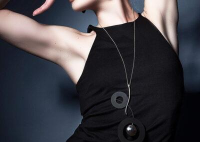 Model Wearing Helen Swan Long Necklace