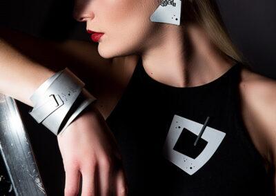 Model Wearing Helen Swan Bracelet and Brooch and Earrings