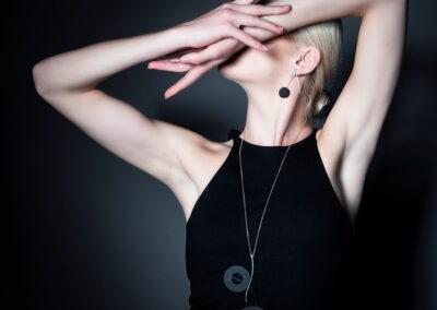 Model Wearing Helen Swan Long Necklace showing arms