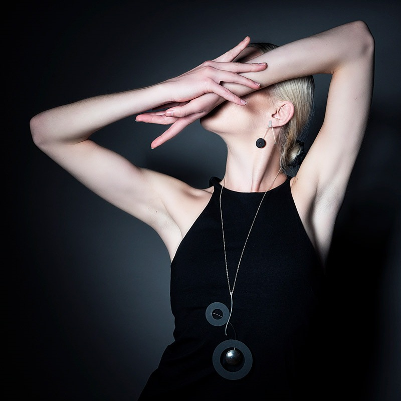 Model Wearing Helen Swan Long Necklace showing arms