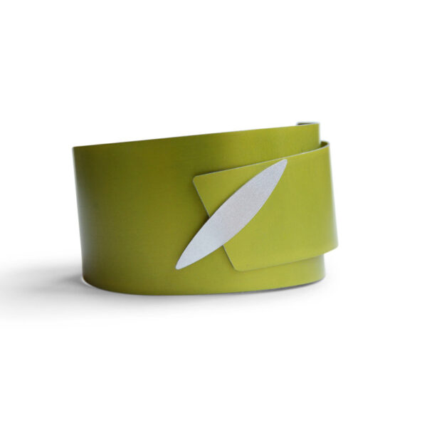 Lime green aluminium bangle with silver marquis detailed fastening