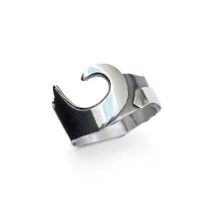 Surfer Wave Ring. Polished and oxidised metal ring depicting the waves of Cornwall