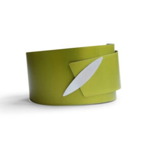 lime green aluminium bangle with marquis shaped silver detail at the front