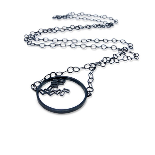 Cluster Pendant Chain Necklace on a long, large linked chain. The 3mm circle sits to the side of the chain