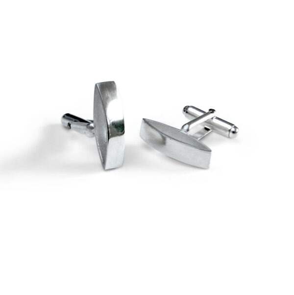 These polished contemporary cufflinks are two marquis shapes on their side with a revolving cufflink attachment