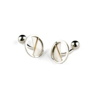 Round cufflinks with gold line and contemporary cufflink fitting