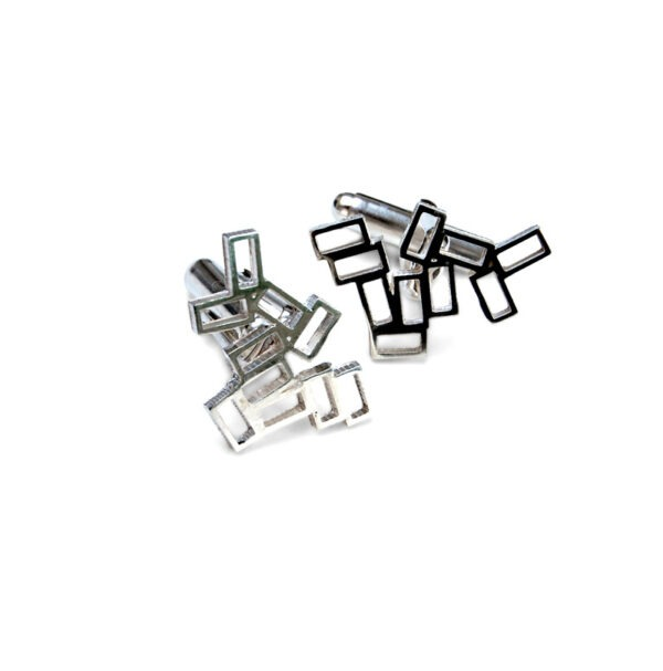 Cluster Geometric Cufflinks Small Rectangles grouped together with swivel cufflink fitting