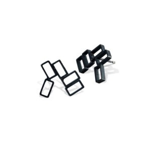Cluster Small Oxidised Stud Earrings earring comprising of cluster of rectangles creating a stud earring in oxidised metal