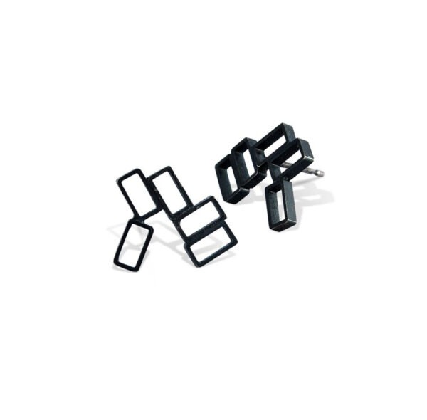 An earring comprising of cluster of rectangles creating a stud earring in oxidised metal