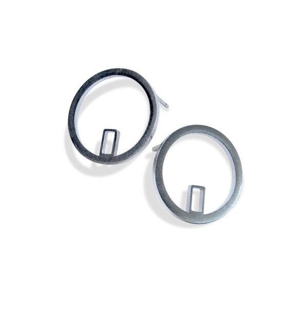 Circle Earrings. circles of silver wire approx. 2cm in diameter with a small rectangular section soldered inside the circle at the bottom edge