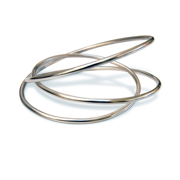 continuous 3mmsilver wire looping three times round the wrist