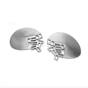 Cluster Silver Circle Stud Earrings Large, Cluster Stud Earrings A designer earring comprising of a cluster of rectangles creating a stud earring i