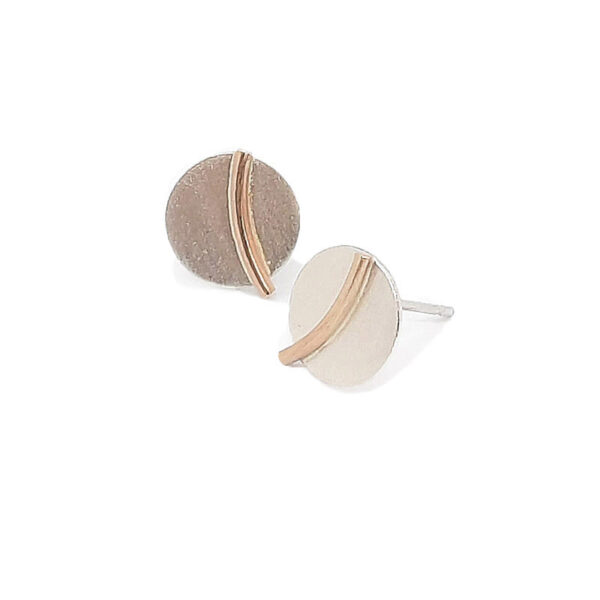 Celeste Silver Circle Stud Earrings On a White Background