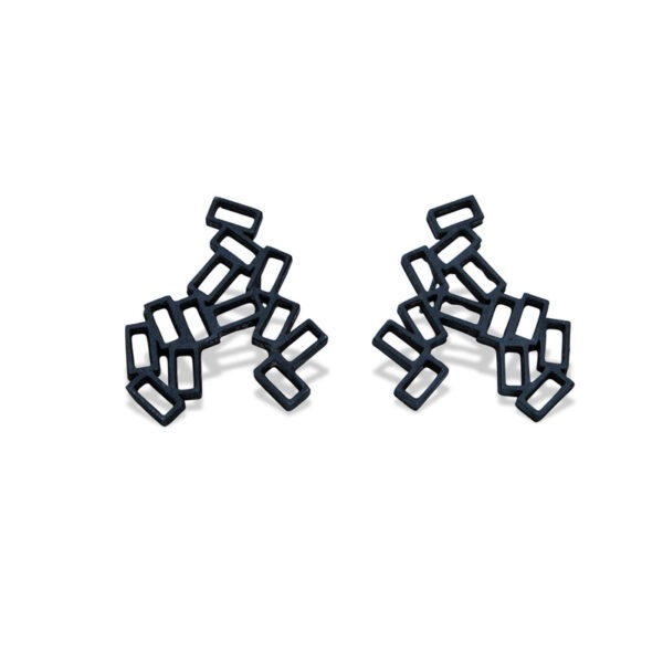 Large Cluster Earring Studs. Stud earrings a cluster of rectangles. The cluster earrings are insprired by the lava rock of Lanzarote. They are black oxidised metal