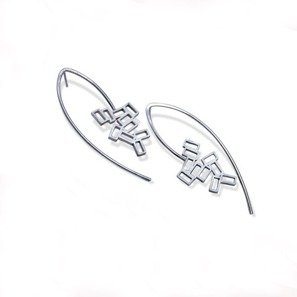 Long cluster stud earring. A cluster of rectangles incorporated into an surrounding wire shape