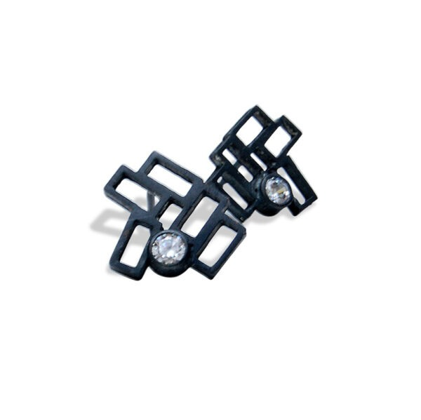 Cluster Earring Studs. Designer stud earrings The earrings have a facetted CZ in the cluster of rectangles. They are black oxidised metal
