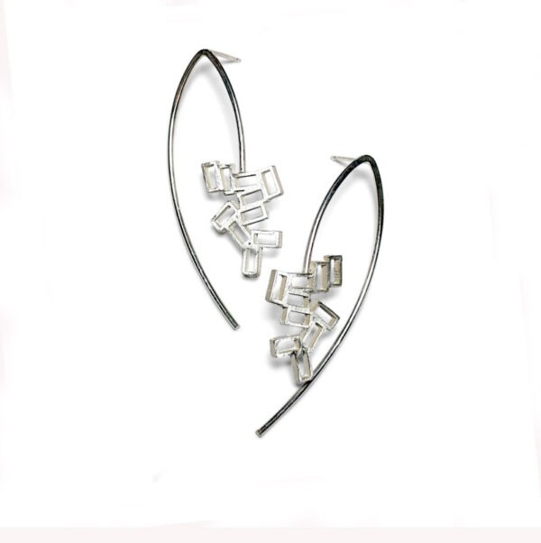 Cluster Long Silver Drop EarringsLong cluster stud earring. A cluster of rectangles incorporated into an surrounding wire shape