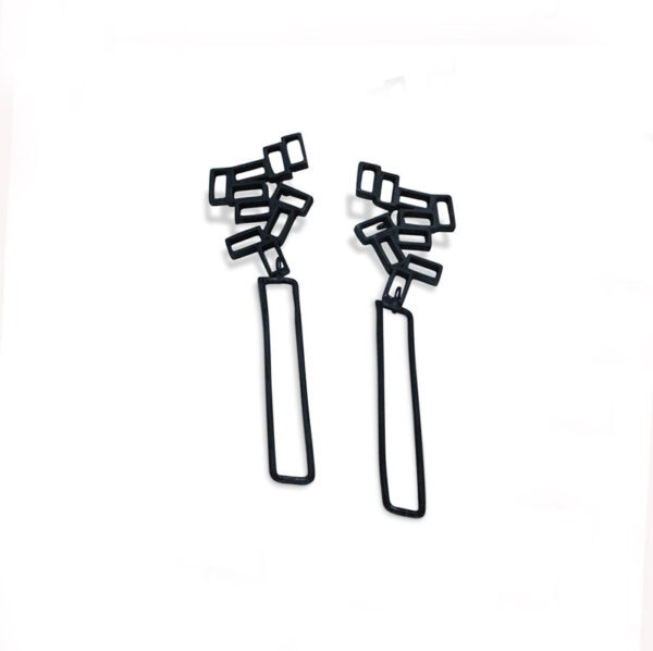 Long Cluster Earrings. The earrings have a long rectangular wire frame, suspended from a cluster of small rectangles. They are oxidised black