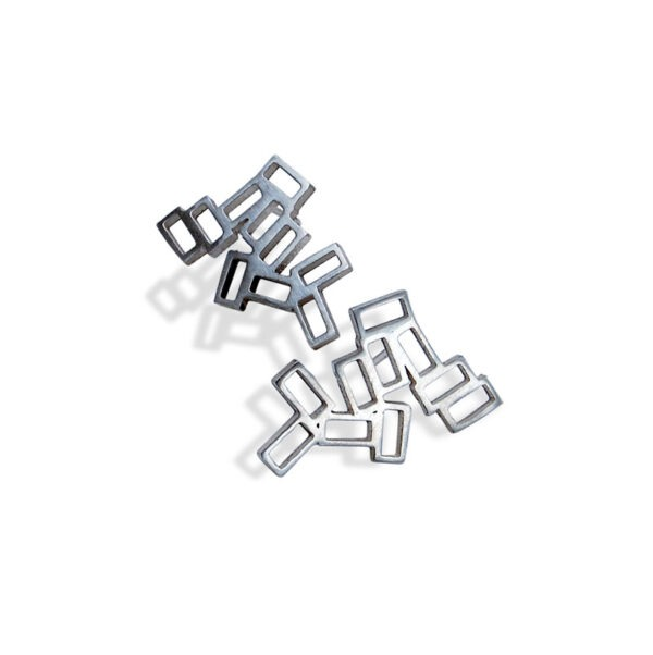Cluster earring studs The stud earrings are a collection of rectangles which you attach directly to your ear with a post. The cluster earrings are inspired by the lava rock of Lanzarote.