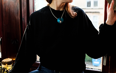 Wearing the lariat necklace