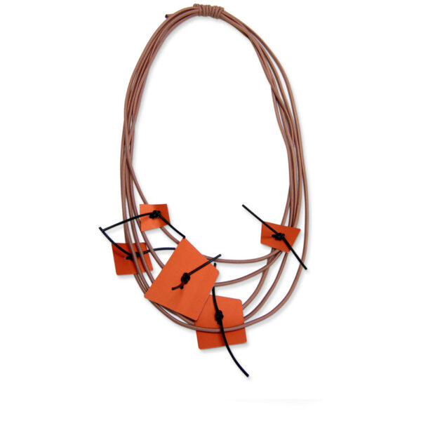 Rubber and Aluminium Necklace withLight Brown Rubber and Terracotta Aluminium Necklace displayed on a white background
