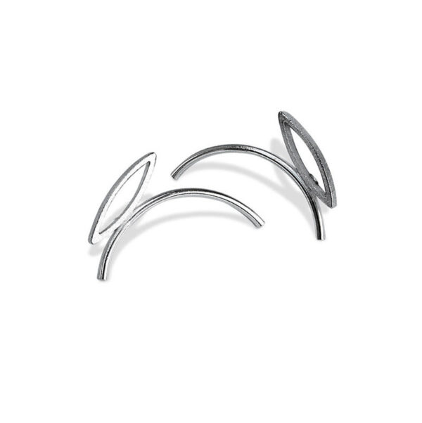 Tumble Minimal Silver Stud Earrings feature minimal silver lines which are attached to textured marquis shaped pendants