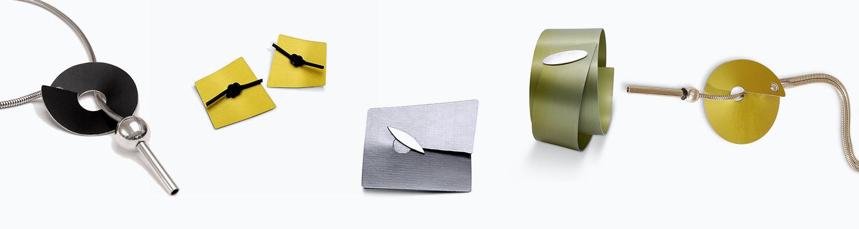 Why aluminium jewellery? this image displays 5 pieces of handmade aluminium jewellery by designer helen swan