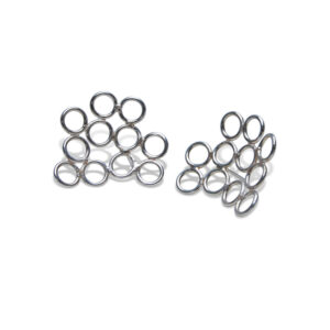 The cluster circle stud earrings are shown on a white background and feature 11 delicate circles clustered around the earring stud